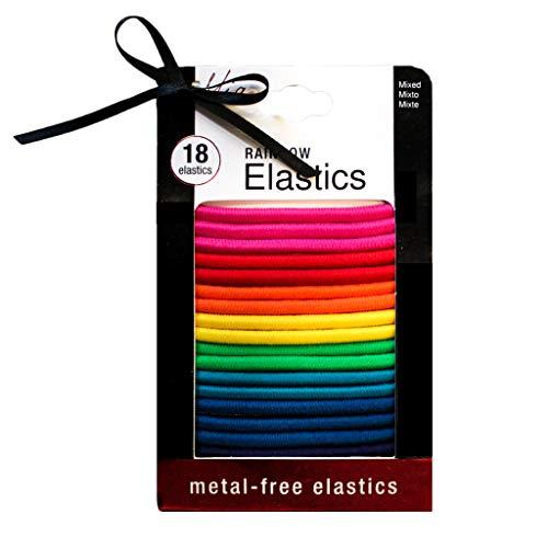 Mia Metal-Free Rubber Bands, Smooth Hair Elastics, Rainbow, for Women, Teens, Girls 2 pks/36pcs