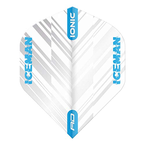 RED DRAGON Hardcore Gerwyn Price Ionic White and Blue Dart Flights - 3 Sets Per Pack (9 Dart Flights in total)