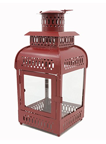 Zeckos Metal & Glass Decorative Candle Lanterns Distressed Red Finish Metal Decorative Candle Lantern 16 Inches Tall 6 X 16 X 6 Inches Burgundy