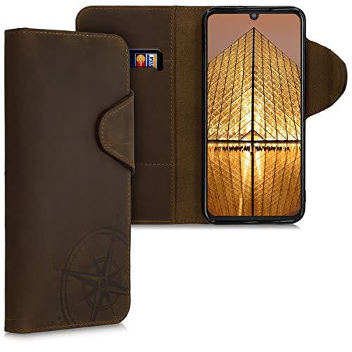 kalibri Hülle kompatibel mit Motorola One Zoom - Leder Handyhülle - Handy Wallet Case Cover Kompass Vintage Braun