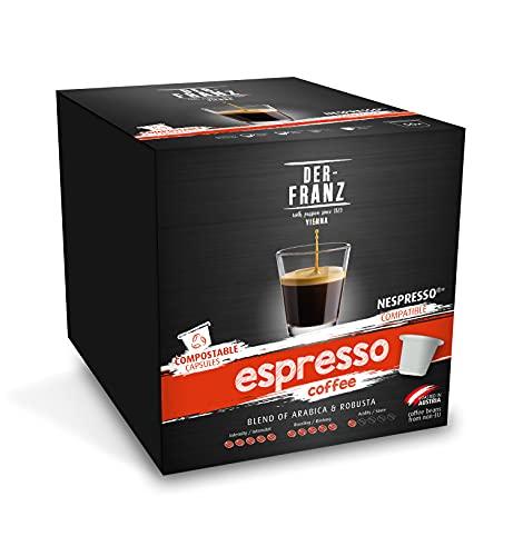 DER-FRANZ - Café espresso en cápsulas, compatible con Nespresso, 100 % compostable, 50 cápsulas