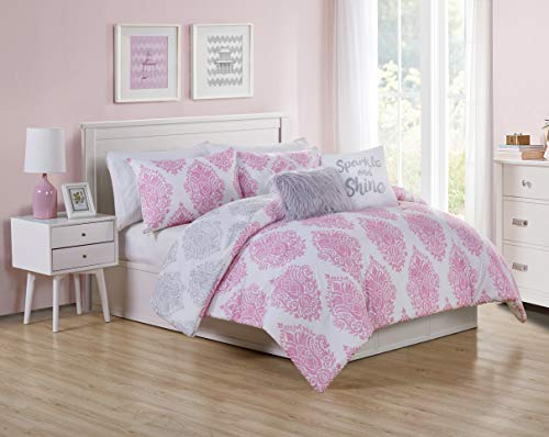 VCNY Home Love The Little Things Collection Comforter Soft & Cozy Bedding Set, Stylish Chic Design for Home Décor, Machine Washable, Twin, Pink