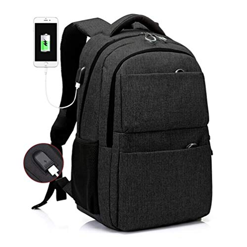Lichtgewicht Laptop Rugzakken Zwart Waterbestendige Ruckpack met USB Opladen Past 15.6 Inch Commuter Pakket Anti-Diefstal Reizen Dagtas Student Casual Wandelen Reizen Knapzak