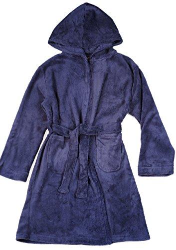Prince of Sleep - Batas de forro polar para niños, Azul marino/flor y brillo, 10-12 Años