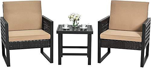 YRRA 3 Stück Terrasse Wicker Bistro Set Outdoor Rattan Sofa Set Gesprächsmöbel Set w/Couchtisch Sitz- und Rückenkissen Möbel Set für Garten (Braun)