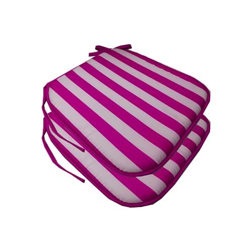 EUROXANTY Cuscino per sedia a righe   Cuscino decorativo   Cuscino esterno   Cuscino per interni   Cuscino per sedie   38 x 38 x 3 cm   Fucsia/Bianco   Confezione da 2