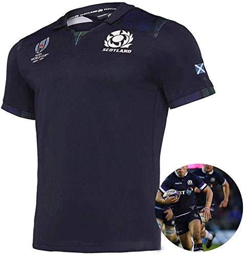 FWHACMT 2019 WK Jersey Rugby Schotland Thuis/Weg Short-Sleeved T-Shirt Ademend Schotland Rugby Shirt Halve Mouwen Mannen Korte mouw Vrije tijd T-shirt trainingspakken