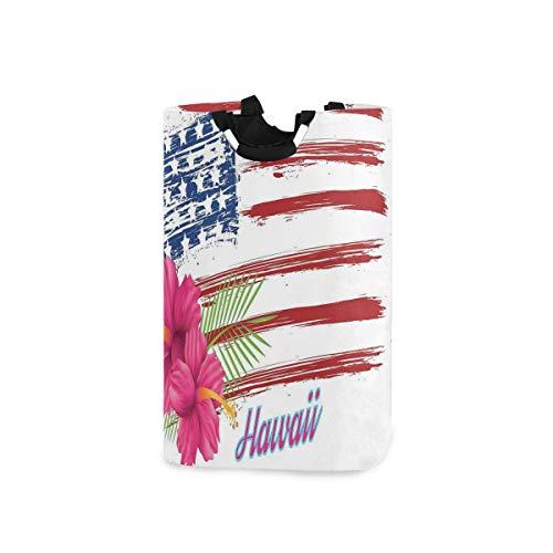 LOSNINA Wäschesammler Wäschekorb Faltbarer Aufbewahrungskorb,Amerikanische Flagge Thema Sterne und Streifen Hibiskus verlässt Hawaii USA patriotisch,Wäschesack - Wäschekörbe - Laundry Baskets