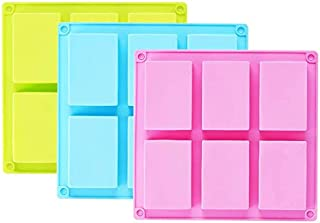 UG LAND INDIA 3 Pack Silicone Soap Mold 6 Cavities Rectangle Silicone Baking Mold DIY Handmade Soap Making, Muffin, Loaf, ...