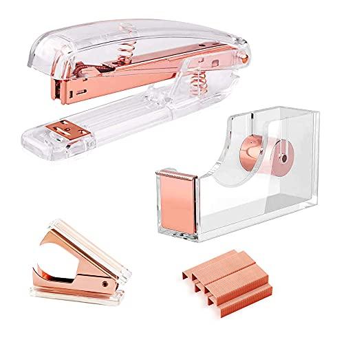 Owfeel Desk Accessory 3 Kits, Rose Gold Stapler & Tape Dispenser Set Includes Stapler, Tape Dispenser, Staple Remover, Acrylic Stapler Set for Office Clerks and Students (Rose Gold)