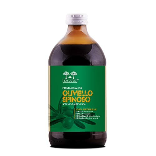 Succo di Olivello Spinoso Salugea 0034 100% Puro e Naturale - Integratore Energizzante, Ricostituente, Regolarizza il Transito Intestinale - 500 Ml - Flacone in Vetro Scuro Farmaceutico