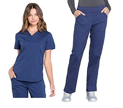 CHEROKEE Workwear Professionals Women's Scrub Set - WW665 V-Neck Top & WW170 Mid Rise Straight Leg Pull-on Cargo Pant, Navy, Large