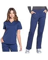 CHEROKEE Workwear Professionals Women's V-Neck Top WW665 & Women's Pull-On Cargo Pant WW170 Medical Uniforms Scrub Set (Navy - Medium - Large)