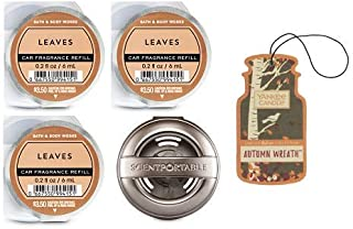 Bath and Body Works Pewter Vent Clip Car Fragrance Holder and 3 Scentportable Leaves. Paperboard Car Fragrance Autumn Wreath.