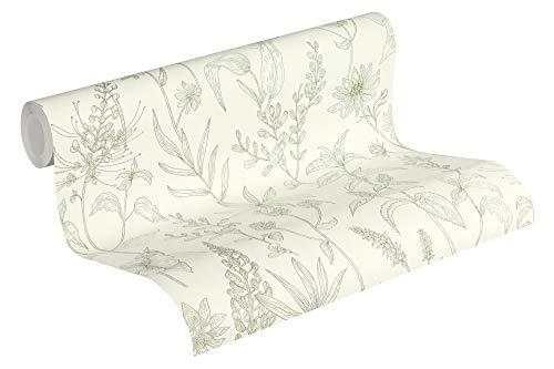 Jette Vliestapete mit Glitter Tapete floral natürlich 10,05 m x 0,53 m grün metallic weiß Made in Germany 373635 37363-5