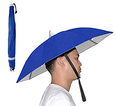 NEW-Vi Umbrella Hat Adult and Kids Folding Cap for Beach Fishing Golf Party Headwear (Blue/Silver 2 Pcs) by NEW-Vi