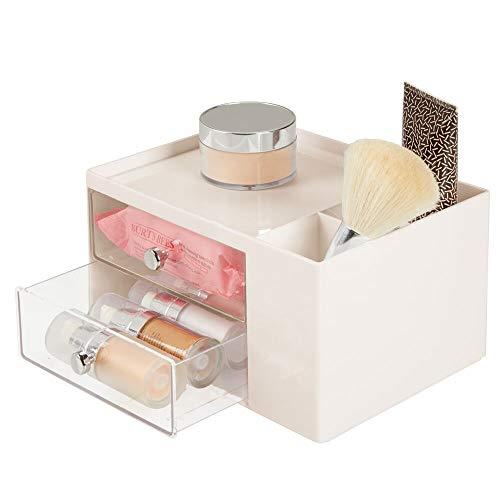 mDesign Mini cassettiera - Pratica cassettiera in plastica con 5 scompartimenti – Porta cancelleria di stile con manici cromati – crema/trasparente