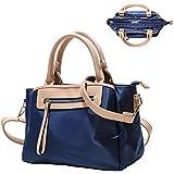 KKXIU Women Handle Handbags Shoulder Lightweight Pockets Zipper Purse Satchel Crossbody Nylon Bags (blue), Medium blue handbag