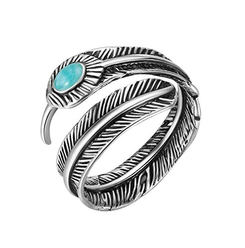 Ring in bladvorm verstelbaar steen blauw turquoise