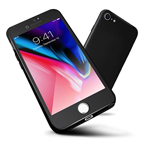 """ORETECH Designed for iPhone SE (2020) /8/7 Case,iPhone 7 Case 360 Full Body Hard PC Case with[2 x Tempered Glass Screen Protector] Lightweight for iPhone SE 2nd Generation/ 8/7/Case-4.7""""-Black"""