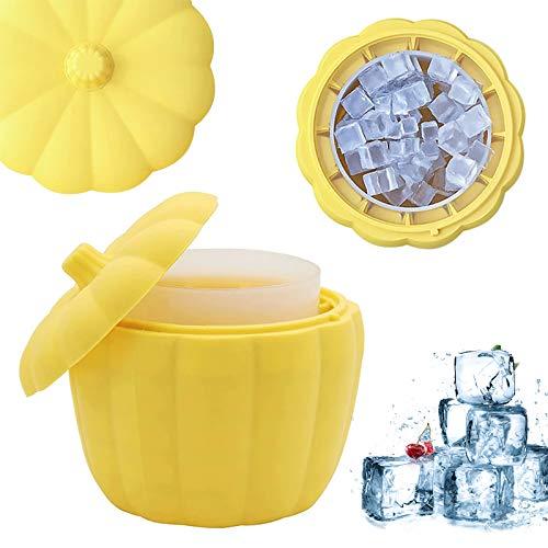 Uymaty Bandeja para cubitos de hielo con tapa,máquina de hielo de silicona tipo calabaza de doble capa,cubeta de acrílico para cubitos de hielo para fiestas de bar en casa,cócteles(13x13x12,5cm)