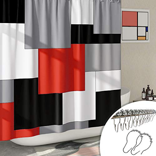 DESIHOM Modern Black and Red Shower Curtain with 12 Metal Glide Hooks Cool Shower Curtains for Men, Grey Shower Curtains for Bathroom Polyester Waterproof 72x72 Inch
