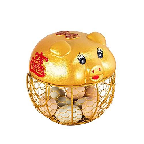 Simple Canasta De Almacenamiento De Huevos De Hierro Con Asa Bandeja De Exhibición De Huevos Con Tapa De Cerdito Dorado De Cerámica Canasta De Huevos De Malla Metálica Estilo Granja, Canasta De Frutas