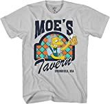 The Simpsons Moe's Tavern Adult T-Shirt Licensed Television Show Cartoon (Silver, X-Large)