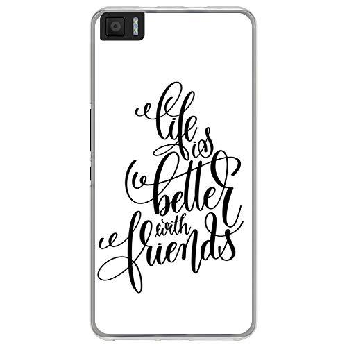 BJJ SHOP Funda Transparente para [ Bq Aquaris M5.5 ], Carcasa de Silicona Flexible TPU, diseño: Amistad y Amor, Life is Better with Friends