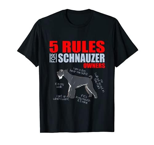 5 Reglas de un Schnauzer Mamá amante del perro divertido Camiseta