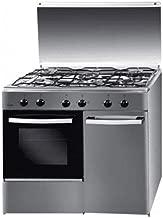 Svan Cocina SVK9552GBB 5 Fuegos Porta Bombona, 85 x 90 x 54,5 cm, Blanca, encimera INOX