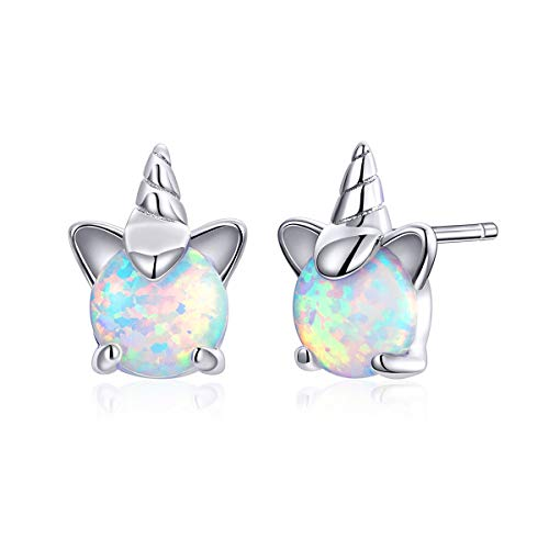 Hypoallergenic Opal Unicorn Stud Earrings for Women Girls, VOROCO 925 Sterling Silver 14K White Gold plated Tiny Ear Studs Birthday Gift for Her(Silver Unicorn)