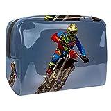 Borsa da bagno Motocross Beauty case per uomini donne bambini borsetta da viaggio idrorepellente Borsa da toilette per valigia bagagli a mano 18.5x7.5x13cm