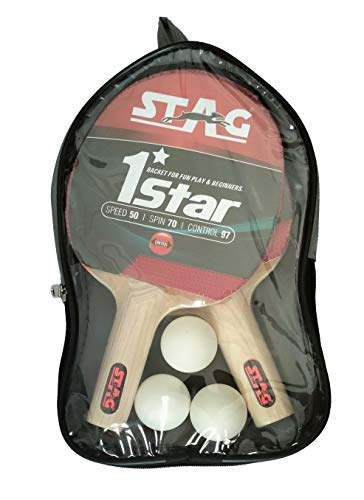 STAG 1 Star Table Tennis Playset (2 Racquets & 3 Balls) (White), (Model: 1 Star Playset)