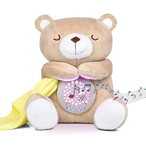 Einschlafhilfe Babys Musik, HOUSOLY Nachtlicht Kinder Projektor Babyparty Geschenk Tragbare Teddy mit Beruhigende Weißes Rauschen und Licht