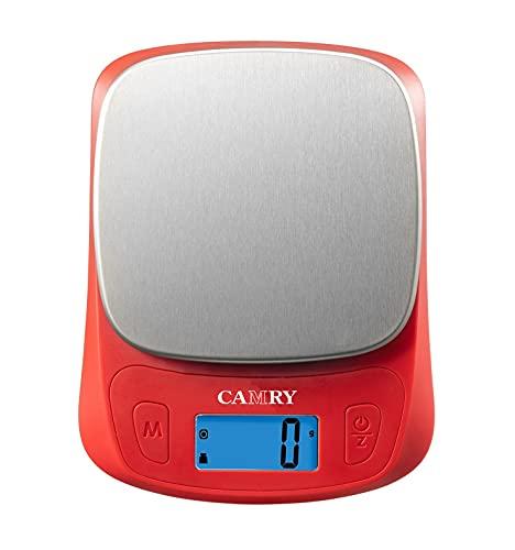 CAMRY Mini Digitale Küchenwaage Kleine Lebensmittelwaage lb/oz/ml/g 5KG/11lb Hochpräzises 1g für Unterwegs Camping Reisen zu Mitnehmen-Rot/Edelstahl