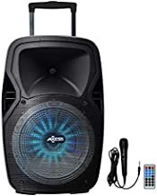 Axess PABT6008 Bluetooth Trolley PA Loud Speaker, Remote, Rech. Battery, 9 Volt Adaptor & Wired Mic, Black