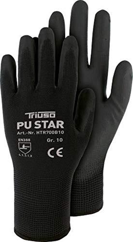 12 Paar PU-Star Montage-Handschuhe Arbeitshandschuhe Montagehandschuh Präzision PU Schwarz Gr.7-11 (11)