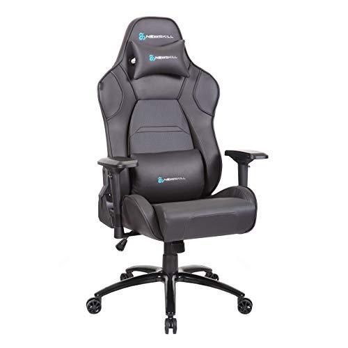 Newskill Valkyr - Silla gaming profesional con asiento microperforado para mejor sensación térmica (sistema de balanceo y reclinable 180 grados, reposabrazos 4D) - Color Negro