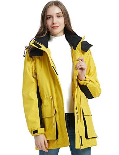 Bellivera Women Protective Outdoor Waterproof Mountain Windbreaker Ski Jacket,The Warm Padding Trench Coat with Hood Yellow Medium