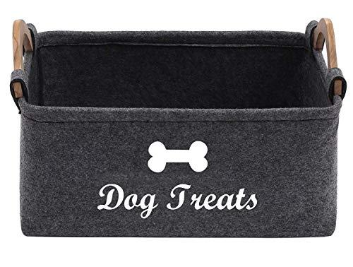 Kleine Aufbewahrungsbox aus Filz für Tierfutter- und Hundeleckerli-Aufbewahrungskorb, 38 (L) x 25 (B) x 18 (H) cm – perfekt für die Organisation von Hundefutter und Leckerlis für Heimdekoration.