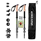 Hiker Hunger 100% Carbon Fiber Trekking Poles – Ultralight & Collapsible with Quick Flip-Lock, Cork Grips,...