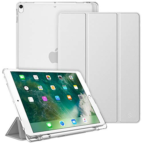 FINTIE Case with Pencil Holder for iPad Air 10.5' (3rd Generation) 2019 / iPad Pro 10.5' 2017 - Lightweight Standing Slim Shell with Translucent Frosted Back Cover, Auto Wake/Sleep, Silver