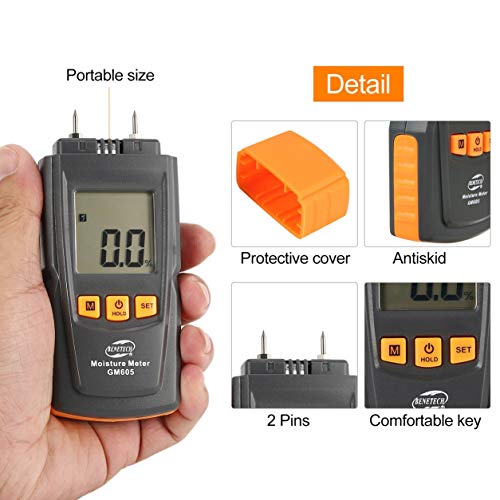 BENETECH GM605 Digital LCD Affichage Humidimètre en Bois Humidimètre Timber Paper Tree Damp Detector 2 Broches Hygromètre (Couleur: Orange & Noir)