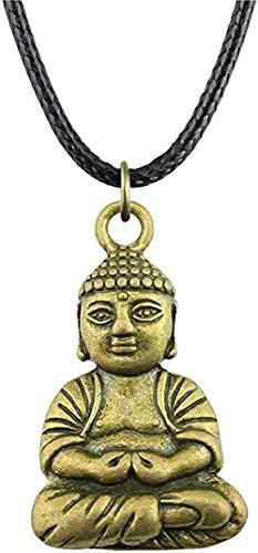 Yiffshunl Collar Mujer Collar con Colgante de Buda 39X23Mm Collar de Cadena de Cuero de Color Bronce Antiguo para Mujer