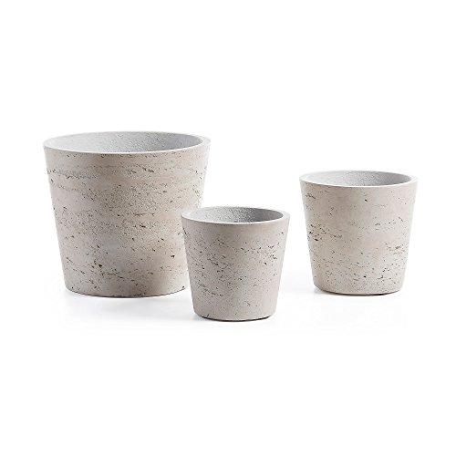 Kave Home - Set de 3 maceteros Low Gris de Cemento para Interior y Exterior