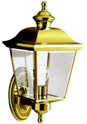 Kichler 9712PB, Bay Shore Solid Brass Outdoor Wall Sconce Lighting, 100 Total Watts, Polished Brass