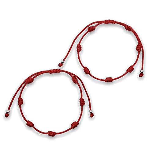 Pack Pulseras Rojas 7 Nudos Suerte para Parejas Hombre y Mujer