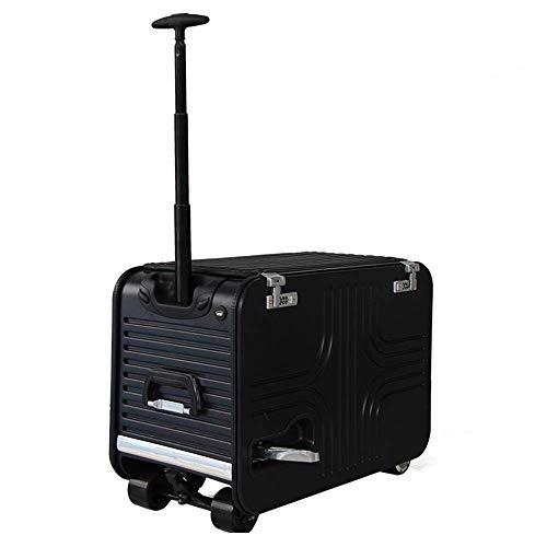 DXFK.AM Elektrischer Koffer Roller, Scooter Trolley Tragbar Reisetasche Gepäck zum Reisen Aufbewahrungsbehälter Abnehmbarer Akku,Schwarz,20