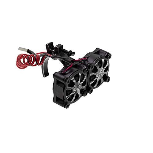 Nrpfell Ventilador de Enfriamiento del Disipador de Calor del Motor con Sensor TéRmico para Motores 540550 3650 3660 1/10 RC Coche Axial SCX10 TRX4, Negro